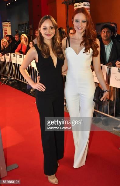 Laura Bilgeri and Barbara Meier pose during 'The Recall' premiere at UCI Kinowelt Millennium City on November 15 2017 in Vienna Austria
