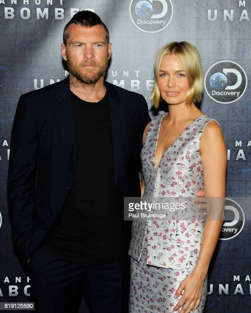 Laura Bingle and Sam Worthington attend Discovery's Manhunt Unabomber World Premiere at Appel Room at Jazz at Lincoln Centers Frederick P Rose Hall...