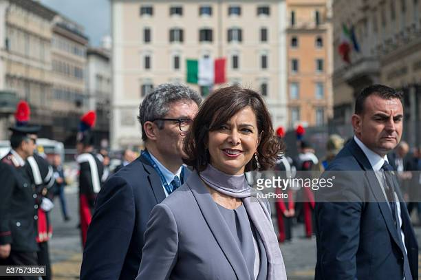 Laura Boldrini during a military parade to mark the 70th anniversary of the Italian Republic on June 2 2016 at Piazza Venezia in Rome Italy
