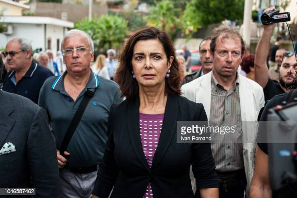 CALABRIA ITALY OCTOBER Laura Boldrini former president of the Chamber of Deputies during the demonstration in support of Domenico Mimmo Lucano on...