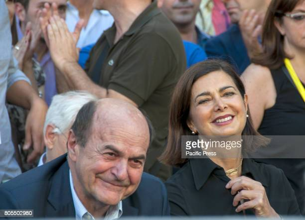 """Laura Boldrini, President of the Chamber of Deputies, and Pierluigi Bersani at the baptism of """"Together"""", the new project of aggregating the Left..."""