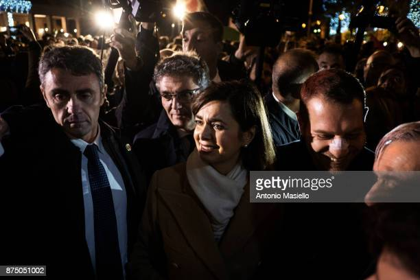 Laura Boldrini President of the Chamber of Deputies takes part in demonstration for freedom of the press in Ostia suburb of Rome Italy on November 16...