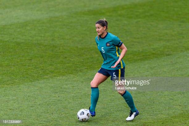 Laura Brock of Australia in action during the International Friendly between Netherlands and Australia at Stadion de Goffert on April 13, 2021 in...