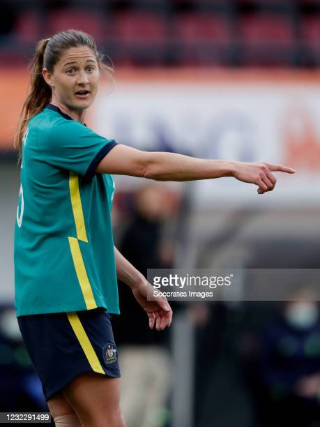 Laura Brock of Australia Women during the International Friendly Women match between Holland v Australia at the Goffert Stadium on April 13, 2021 in...