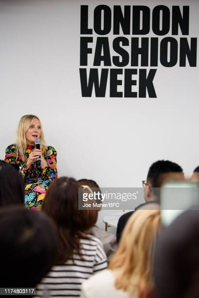 Laura Brown during a talk on Influencer Impact & The Future of Shopping at London Fashion Week September 2019 at BFC Show Space on September 15, 2019...