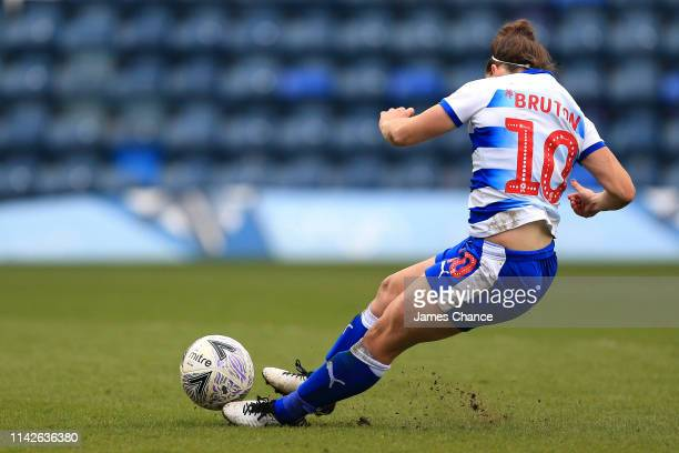 Laura Bruton of Reading Ladies slips and misses her penalty during the penalty shoot out during the Women's FA Cup Semi Final match between Reading...