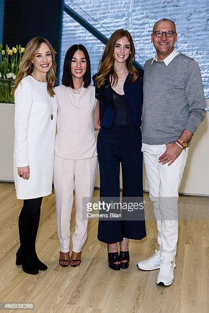 Laura Burdese Nicole Warne Chiara Ferragni and Ulrich Grimm attend the Calvin Klein Watches Jewelery booth at Baselworld 2015 on March 19 2015 in...