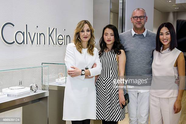 Laura Burdese Zhang Yi Ulrich Grimm and Nicole Warne attend the Calvin Klein Watches Jewelery booth at Baselworld 2015 on March 19 2015 in Basel...