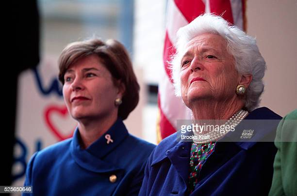 Laura Bush and her motherinlaw former First Lady Barbara Bush campaign for Republican presidential candidate George W Bush They were promoting...