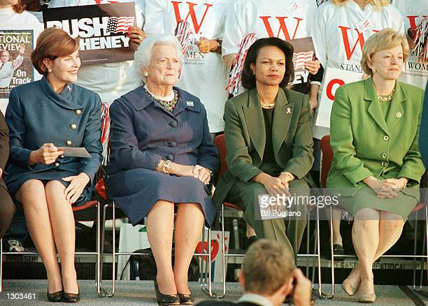 Laura Bush Barbara Bush Condoleezza Rice and Lynne Cheney attend a W Stands For Women rally to help support the Republican ticket October 18 2000 in...