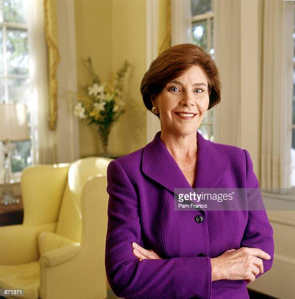 Laura Bush poses for a portrait November 17 1999 in the Governor's mansion in Austin Texas