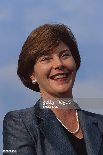 Laura Bush smiling at a Presidential campaign stop in 2000 She was campaigning with her husband George W Bush in Austin in their home state of Texas