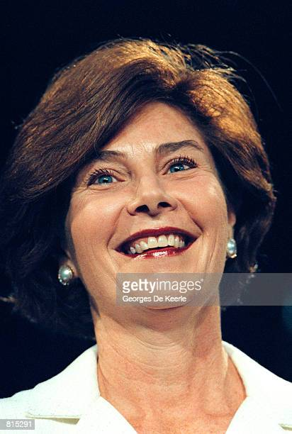 Laura Bush the wife of Texas Gov George W Bush as she appears during a campaign fundraising event June 22 1999 in Washington DC George W Bush is the...