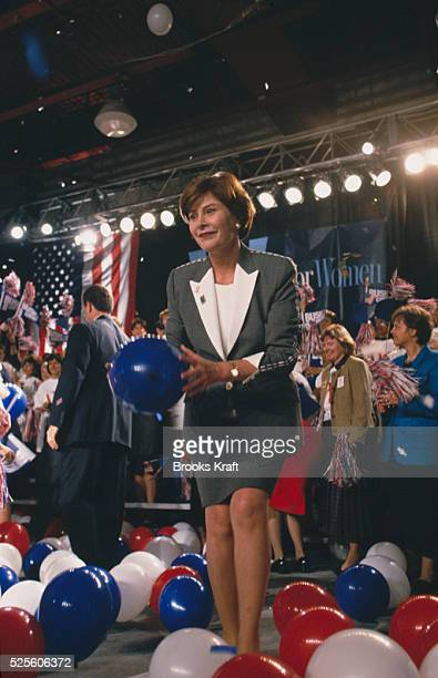 Laura Bush while on the campaign trail for her husband George W Bush Republican Presidential candidate She is at a W Stands for Women rally in...