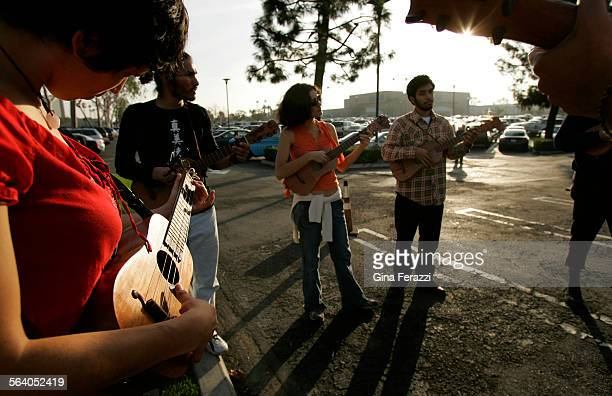 Laura Cambron left of Whittier plays her requinto with a Son Jarocho group in support of local latinos who are protesting against a recently approved...
