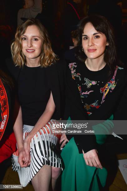 Laura Carmichael and Michelle Dockery attend the Schiaparelli Haute Couture Spring Summer 2019 show as part of Paris Fashion Week on January 21 2019...