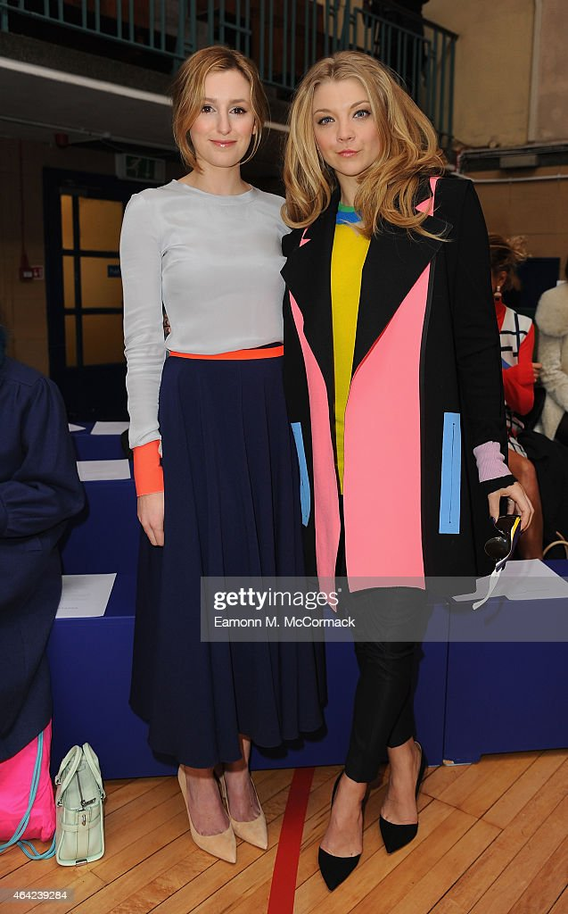 Laura Carmichael and Natalie Dormer attend the Roksanda show during London Fashion Week Fall/Winter 2015/16 at Seymour Hall on February 23, 2015 in London, England.