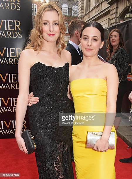 Laura Carmichael and Phoebe Fox attend The Olivier Awards at The Royal Opera House on April 12, 2015 in London, England.