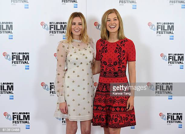 Laura Carmichael and Rosamund Pike attend the 'A United Kingdom' photocall during the 60th BFI London Film Festival at The Mayfair Hotel on October 5...