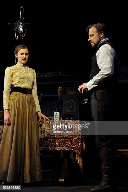 Laura Carmichael as Sonya and Samuel West as Doctor Astrov in Anton Chekhov's Uncle Vanya directed by Lindsay Posner at the Vaudville Theatre in...