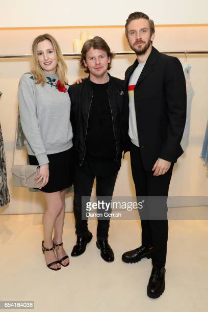 Laura Carmichael Christopher Kane and Dan Stevens attend the launch of Christopher Kane and Disney's Beauty And The Beast capsule on March 16 2017 in...
