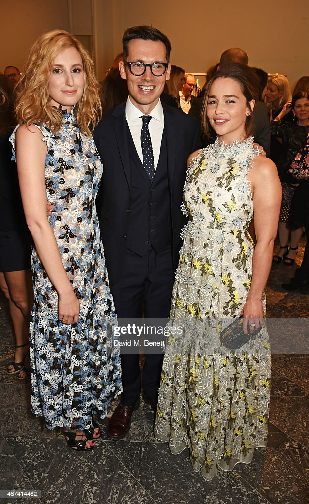Laura Carmichael, designer Erdem Moralioglu and Emilia Clarke attend the launch of the first Erdem flagship store on September 9, 2015 in London, England.