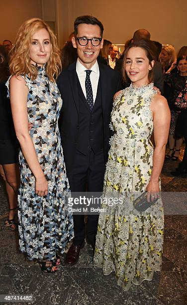 Laura Carmichael designer Erdem Moralioglu and Emilia Clarke attend the launch of the first Erdem flagship store on September 9 2015 in London England