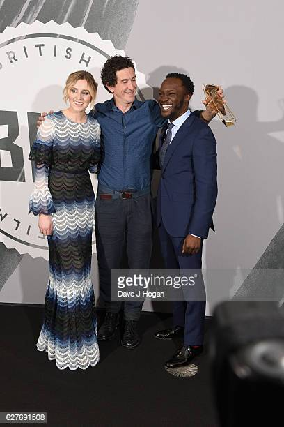Laura Carmichael Joakim Sundstrom and Arnold Oceng pose at The British Independent Film Awards Old Billingsgate Market on December 4 2016 in London...