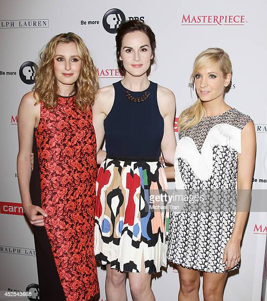Laura Carmichael Michelle Dockery and Joanne Froggatt arrive at the Los Angeles photo call of 'Downton Abbey' held at The Beverly Hilton Hotel on...