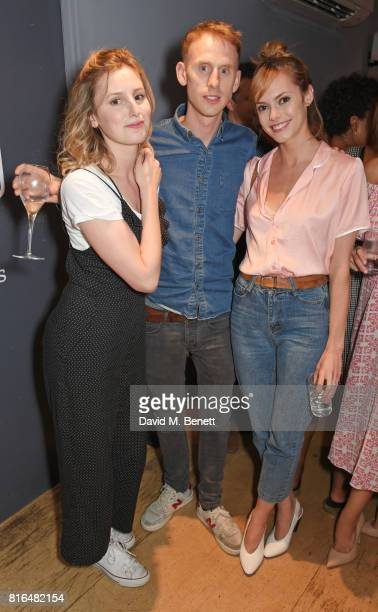 Laura Carmichael Robert Emms and Hannah Tointon attend the press night party for 'Twilight Song' at The Park Theatre on July 17 2017 in London England