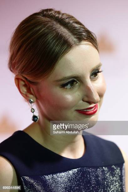 Laura Carmichael speaks to the media during the Downtown Abbey The Exhibition Red Carpet at the Sands Expo and Convention Centre on June 21 2017 in...