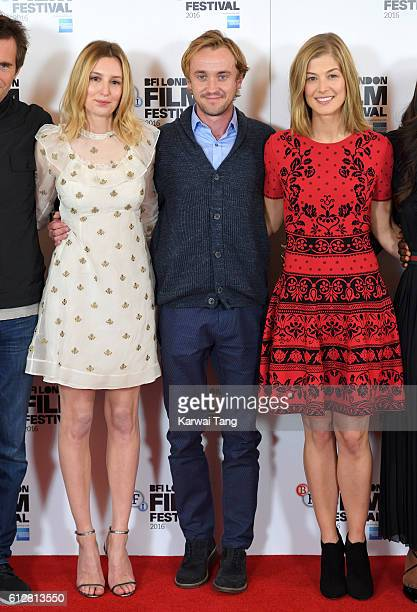 Laura Carmichael Tom Felton and Rosamund Pike attend the 'A United Kingdom' photocall during the 60th BFI London Film Festival at The Mayfair Hotel...