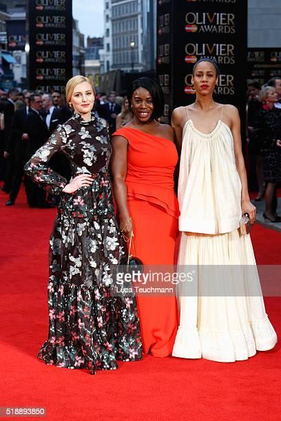 Laura Carmichael Uzo Aduba and Zawe Ashton arrive The Olivier Awards with Mastercard at The Royal Opera House on April 3 2016 in London England