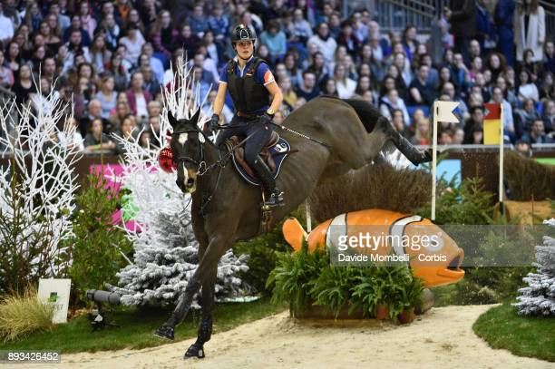 Laura Casiraghi of Italy riding Verdi during the Cross Indoor sponsored by Tribune de Genève Rolex Grand Slam Geneva 2017
