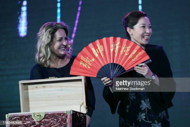 Laura Ceccarelli and WTA Legend Zheng Jie during the Official Draw Ceremony and Gala of the 2019 WTA Finals at Hilton Shenzhen Shekou Nanhai on...
