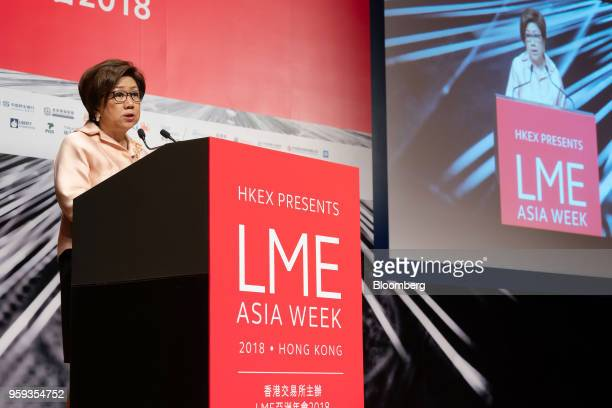 Laura Cha chairman of of Hong Kong Exchanges and Clearing Ltd speaks during the LME Asia Week Seminar organized by London Metal Exchange Ltd in Hong...