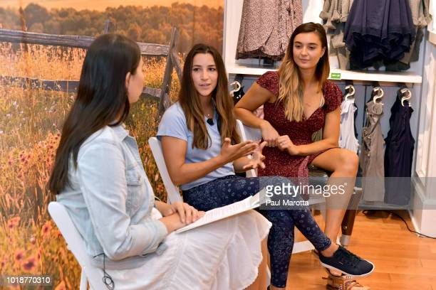 Laura Chan GoldMedalist Aly Raisman and Brenna Huckaby speak at Pin Aerie's Real Talk At Natick Mall on August 18 2018 in Natick Massachusetts