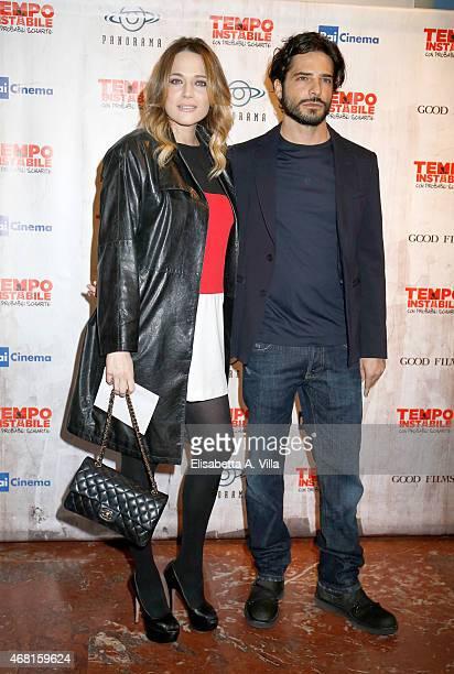 Laura Chiatti and Marco Bocci attend 'Tempo Instabile Con Probabili Schiarite' Screening at Cinema Barberini on March 30 2015 in Rome Italy