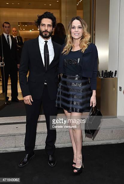 Laura Chiatti and Marco Bocci attends the Giorgio Armani 40th Anniversary Boutique Cocktail Reception on April 29 2015 in Milan Italy