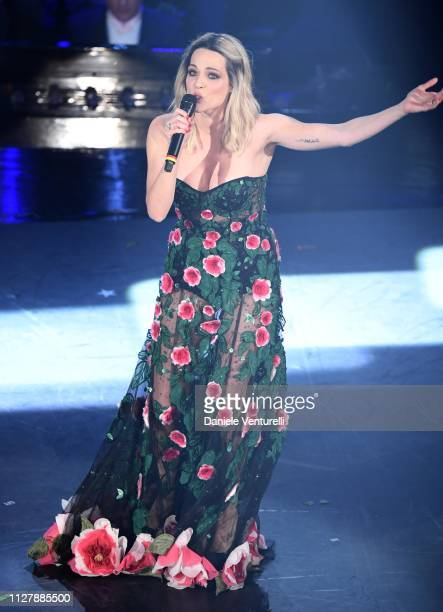 Laura Chiatti on stage during the second night of the 69th Sanremo Music Festival at Teatro Ariston on February 06 2019 in Sanremo Italy