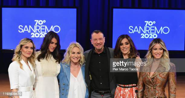Laura Chimenti Francesca Sofia Novello Antonella Clerici Amadeus Emma D'Aquino and Diletta Leotta attend the 70 Sanremo Music Festival Press...