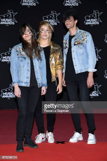 Laura Christin Samanta Cotta and Zaccharie Schutte of Hyphen Hyphen attend the 19th NRJ Music Awards on November 4 2017 in Cannes France
