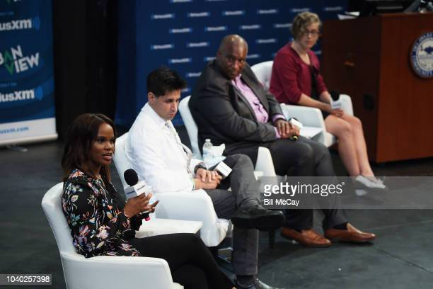 Laura Coates Tarik S Khan Bryan Monroe and Jean Strout attend the SiriusXM's America In Crisis Handling Election Angst at Delaware County Community...