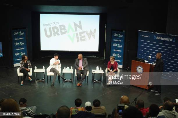Laura Coates Tarik S Khan Bryan Monroe Jean Strout and host Joe Madison attend the SiriusXM's America In Crisis Handling Election Angst at Delaware...