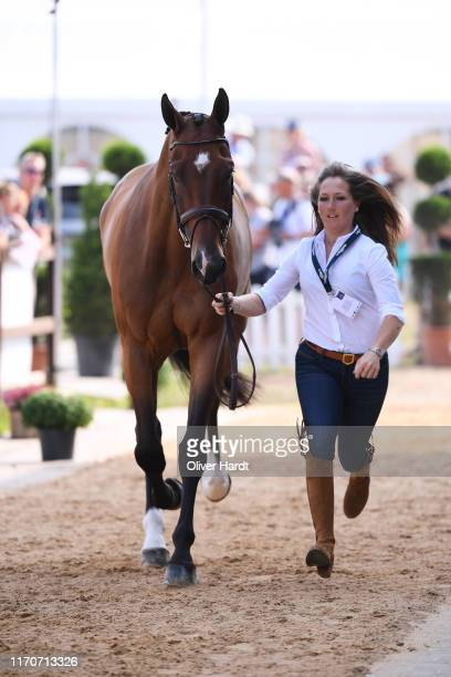 Laura Collett of Great Britain with London 52 during the Horse Inspection prior to the Dressage at the Longines FEI Eventing European Championships...