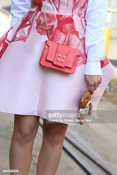 Laura Comolli is seen in the streets of Milan arriving at the Dolce & Gabbana show during Milan Fashion Week 2015 on Mars 01, 2015 in Milan, Italy.