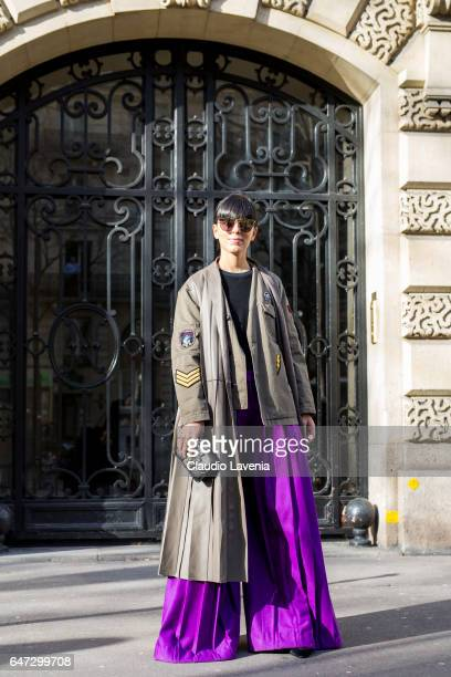 Laura Comolli is seen in the streets of Paris after the Balmain show during Paris Fashion Week Womenswear Fall/Winter 2017/2018 on March 2 2017 in...