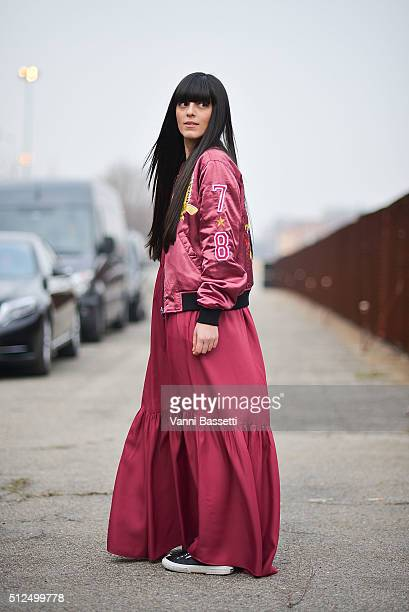Laura Comolli poses wearing a Diesel jacket before the Diesel Black Gold show during the Milan Fashion Week Fall/Winter 2016/17 on February 26 2016...
