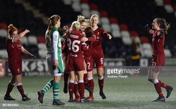 Laura Coombs of Liverpool Ladies celebrates after scoring the eighth goal during the FA Women's Super League match between Liverpool Ladies and...