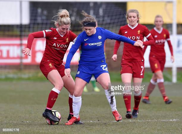 Laura Coombs of Liverpool Ladies competes with Erin Cuthbert of Chelsea Ladies during the SSE Women's FA Cup Quarter Final match between Liverpool...